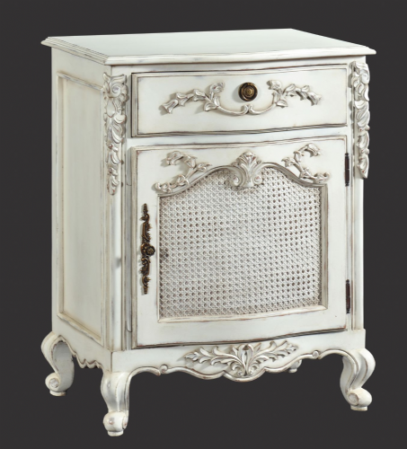 Rattan Fronted Bedside in Distressed White